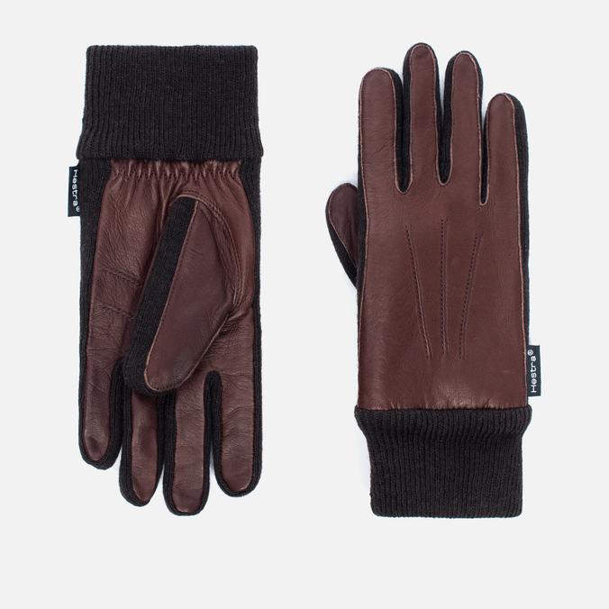 Женские перчатки Hestra Deerskin Sandwich Dark Brown