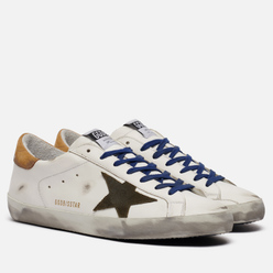 Мужские кроссовки Golden Goose Superstar Leather/Suede Star White/Drill Green/Brown