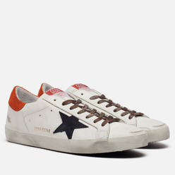 Мужские кроссовки Golden Goose Superstar Leather/Leather Star White/Night Blue/Fanta Orange