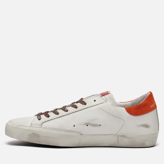 Мужские кроссовки Golden Goose Superstar Leather/Leather Star White/Night Blue/Fanta Orange