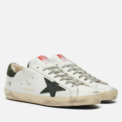 Мужские кроссовки Golden Goose Super-Star Leather/Suede Star White/Military/Natural White