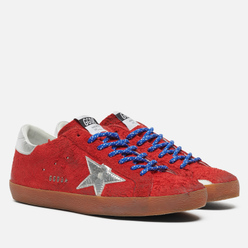 Мужские кроссовки Golden Goose Super-Star Long Hair Suede/Laminated Star Red/Silver