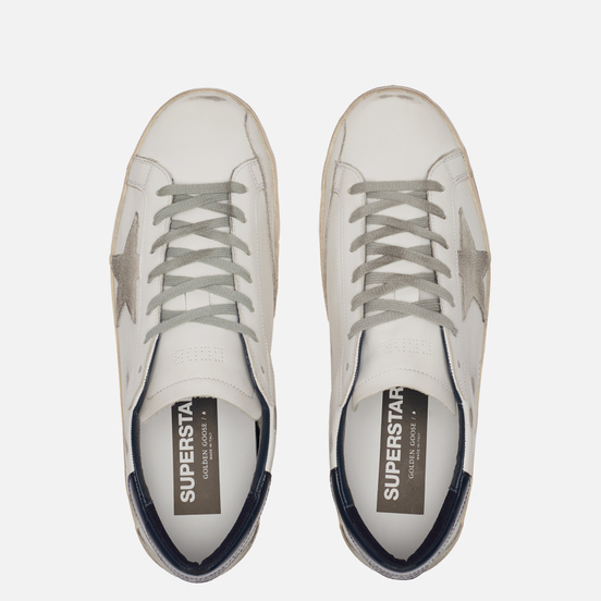 Мужские кроссовки Golden Goose Superstar Leather/Suede Star White/Ice/Night Blue