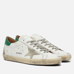 Мужские кроссовки Golden Goose Super-Star Leather/Suede Star White/Ice/Green