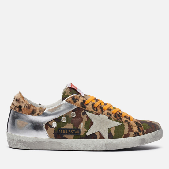 Мужские кроссовки Golden Goose Superstar Camouflage & Laminated Green Camouflage/Silver/Ice/Brown Leo