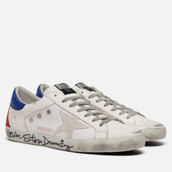 Мужские кроссовки Golden Goose Superstar Canvas/Leather Signature Foxing White/Blue/Ruby/Red