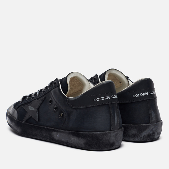 Мужские кроссовки Golden Goose Superstar Satin/Leather Star Black
