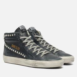 Мужские кроссовки Golden Goose Slide Classic Leather Studs Black