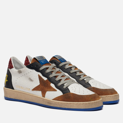 Мужские кроссовки Golden Goose Ball Star Crack/Suede Star White/Elk Brown/Black
