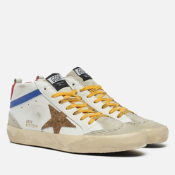 Мужские кроссовки Golden Goose Mid Star leather/Wave Leopard Suede Star White/Ice/Beige/Brown/Black/Blue/Red