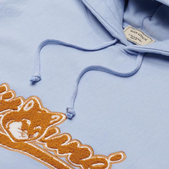 Мужская толстовка Maison Kitsune Varsity Fox Color Block Regular Hoodie Light Blue