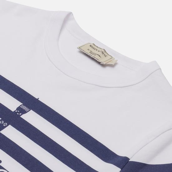 Женская футболка Maison Kitsune Parisien Tower Striped Classic White