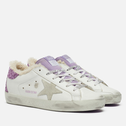 Женские кроссовки Golden Goose Super-Star Leather/Suede Star Flowers Embossed Foxing White/Lavender