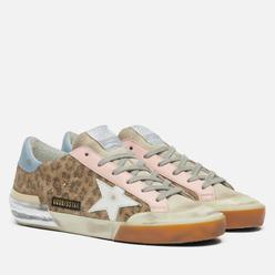 Женские кроссовки Golden Goose Super-Star Penstar Leopard Print Suede/Leather Star Beige/Brown/Black/Pearl/Light Pink/Light Blue
