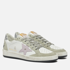 Женские кроссовки Golden Goose Ball Star Leather/Leather Star White/Lilac/Oil Green/Silver
