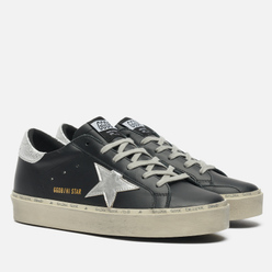 Женские кроссовки Golden Goose Hi Star Leather/Laminated Star Black/Silver