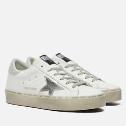 Женские кроссовки Golden Goose Hi Star Leather/Laminated Star White/Silver