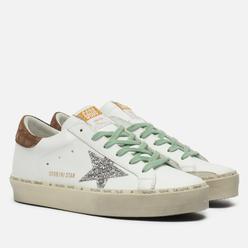 Женские кроссовки Golden Goose Hi Star Leather/Glitter Star Check Print White/Silver/Brown