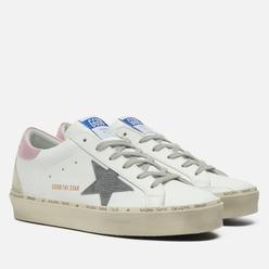 Женские кроссовки Golden Goose Hi Star Leather/Lizard Print Suede Star White/Dark Grey/Salmon/Ice