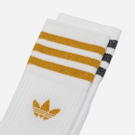 Комплект носков adidas Originals 2-Pack Mid Cut Glitter Crew White/Black/Victory Gold
