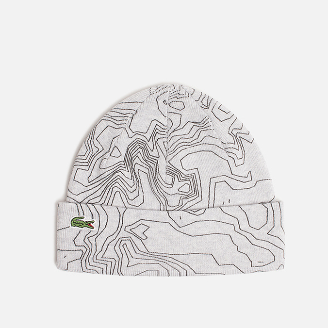 Шапка Lacoste Beanie Cotton Print Grey