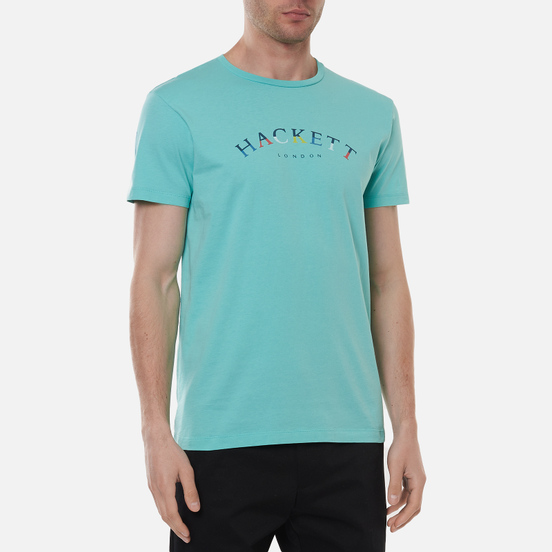 Мужская футболка Hackett London Color Logo Pool Blue