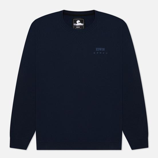 Мужская толстовка Edwin Base Crew Heavy Felpa Navy Blazer Garment Washed
