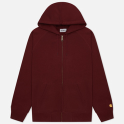 Мужская толстовка Carhartt WIP Chase 13 Oz Full-Zip Hoodie Bordeaux/Gold