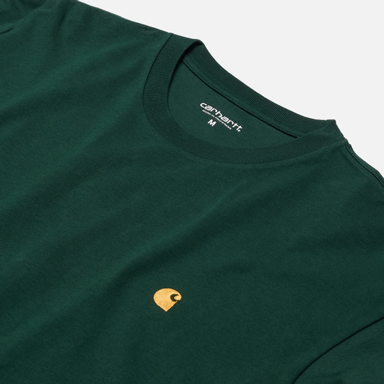 Мужской лонгслив Carhartt WIP L/S Chase Bottle Green/Gold