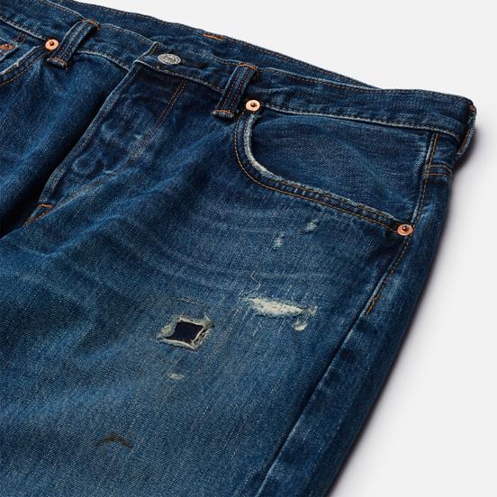 Мужские джинсы Edwin Regular Tapered Dark Pure Indigo Rainbow Selvage 13.5 Oz Blue Mid Used Remake