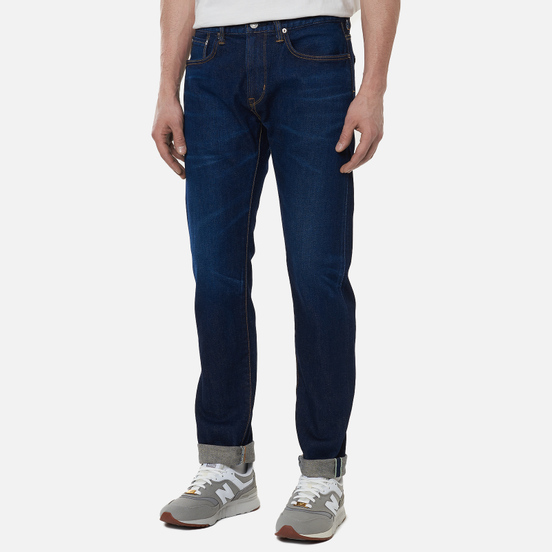 Мужские джинсы Edwin Slim Tapered Kaihara Blue Stretch Denim Green x White Selvage 12.5 Oz Blue Dark Used
