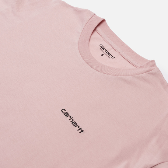 Женская футболка Carhartt WIP W S/S Script Embroidery Frosted Pink/Black