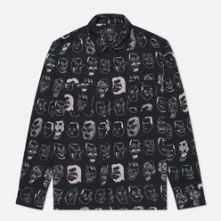 Мужская рубашка Edwin Hokusai Noh Masks Black Masks All Over Printed