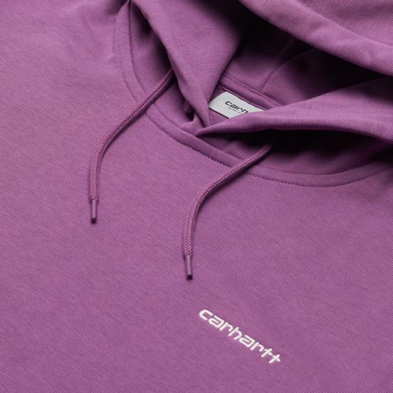 Мужская толстовка Carhartt WIP Script Embroidery 13 Oz Hooded Aster/White