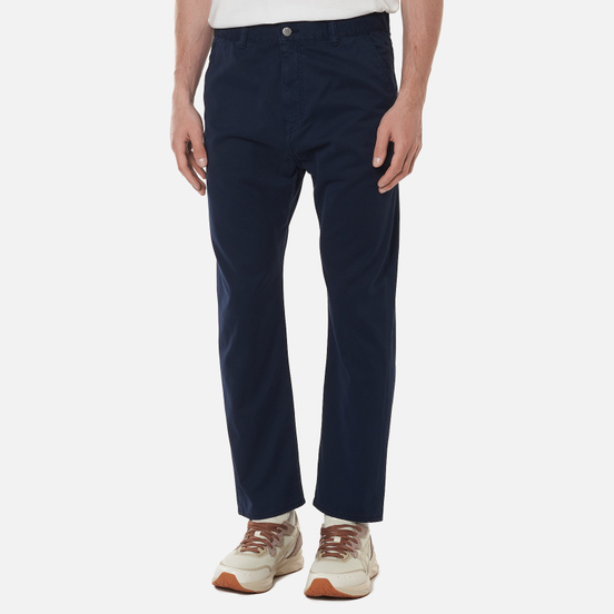Мужские брюки Edwin Universe Cropped PFD Light Cotton Twill 6.8 Oz Navy Blazer Garment Dyed