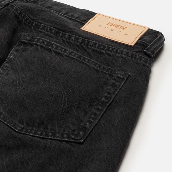 Мужские джинсы Edwin Regular Tapered Kaihara Black x White Selvage 11 Oz Black Dark Used