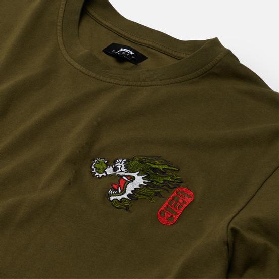 Мужская футболка Edwin Dragon Uniform Green Garment Dyed Faded Out