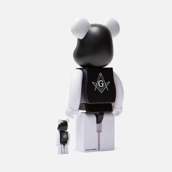 Игрушка Medicom Toy Bearbrick Freemasonry x Fragmentdesign Black Set 100% & 400%