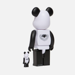 Игрушка Medicom Toy Bearbrick Freemasonry x Fragmentdesign White Set 100% & 400% фото- 1