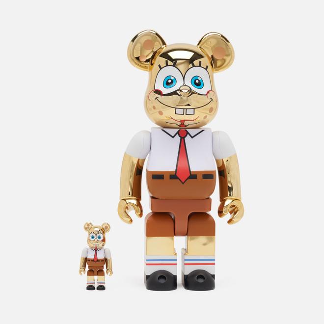 Игрушка Medicom Toy Bearbrick Sponge Bob Gold Chrome 100% & 400%