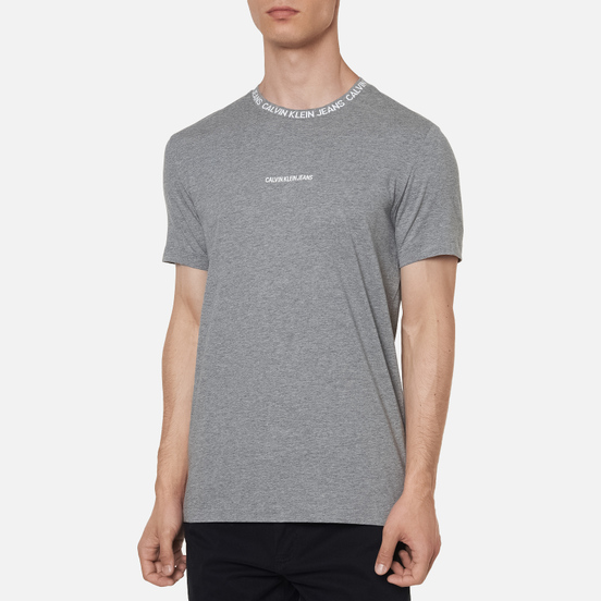 Мужская футболка Calvin Klein Jeans Institutional Collar Logo Mid Grey Heather