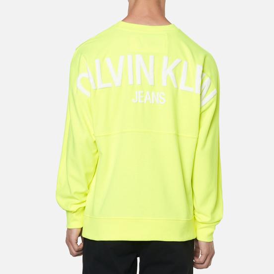 Мужская толстовка Calvin Klein Jeans Back Logo Neon Crewneck Safety Yellow