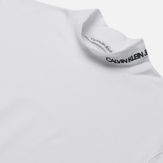 Мужской лонгслив Calvin Klein Jeans LS Mock Neck Bright White