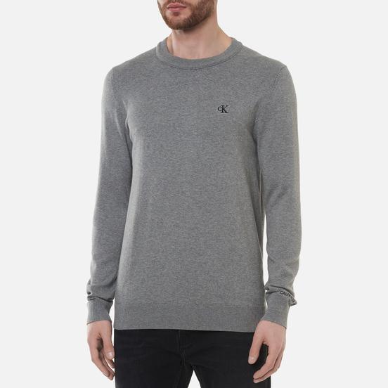 Мужской свитер Calvin Klein Jeans Monogram Chest Logo Crew Mid Grey Heather