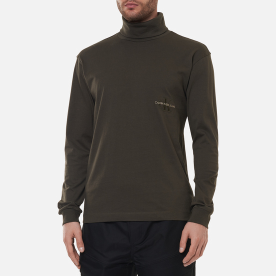 Мужская водолазка Calvin Klein Jeans LS Off Placed Roll Neck Black Olive