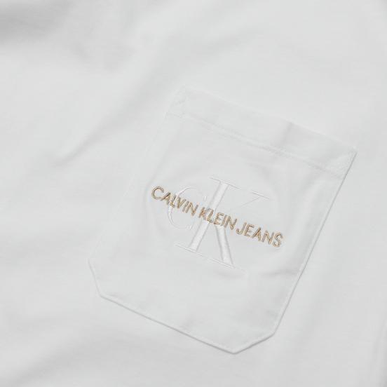 Мужская футболка Calvin Klein Jeans Monogram Embroidery Pocket Bright White