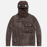 Мужская куртка C.P. Company Leather Goggle Jacket Brown фото- 0