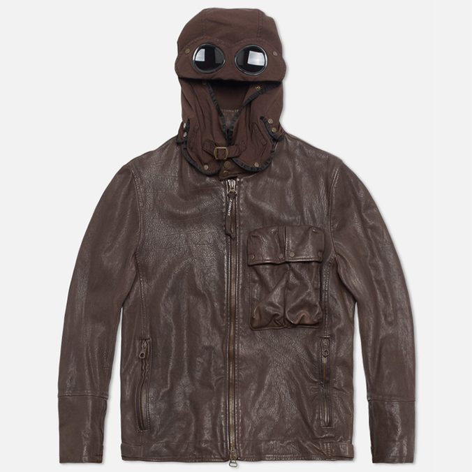 Мужская куртка C.P. Company Leather Goggle Jacket Brown