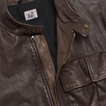 Мужская куртка C.P. Company Leather Goggle Jacket Brown фото- 9