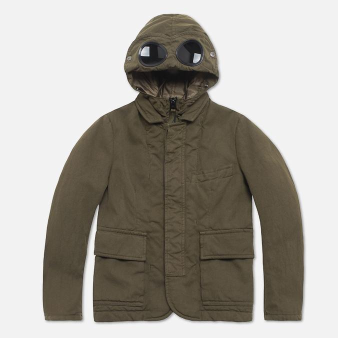 C.P. Company U16 Cotton Nylon Goggle Children's Jacket Olive